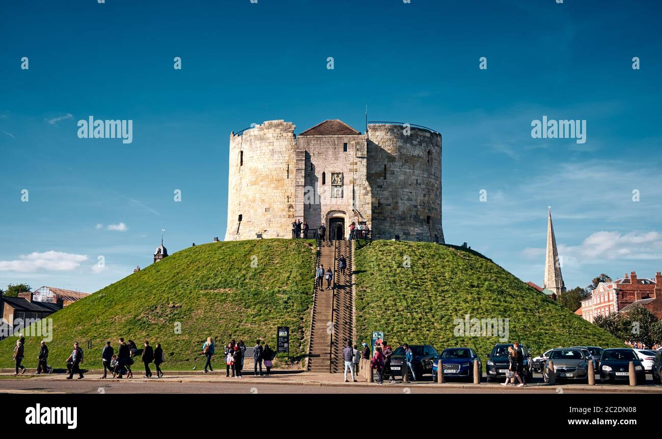 YORK, UK - Sep 29, 2018: The landscape of Clifford's Tower on a sunny day in York City, United Kingdom Stock Photo