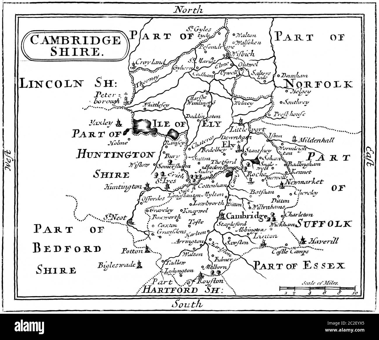 A Map of Cambridgeshire scanned at high resolution from a book published in the 1780s. This image is believed to be free of all copyright. Stock Photo