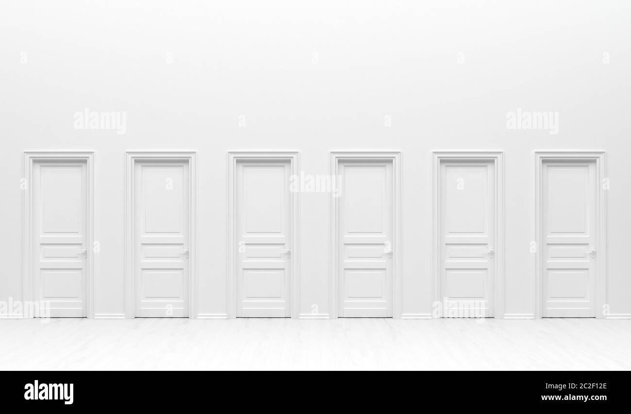 The Interior Of The Room In Plain Monochrome White Color With Many Monotone Doors White Background With Copy Space 3d Rendering Illustration Stock Photo Alamy