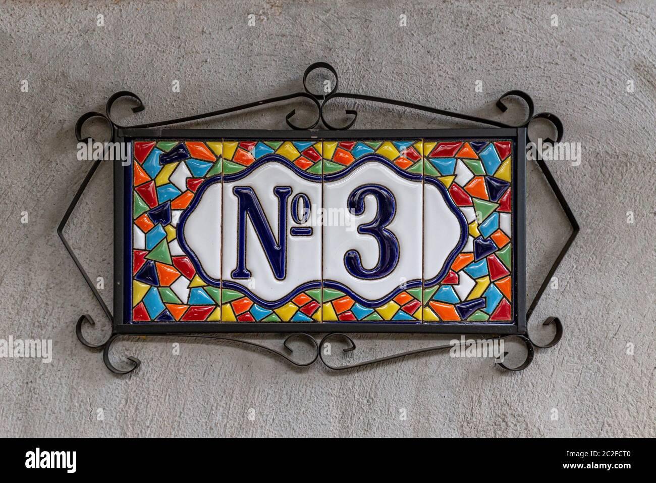 https www alamy com number 3 three house number decorative ceramic tile digit image362986400 html