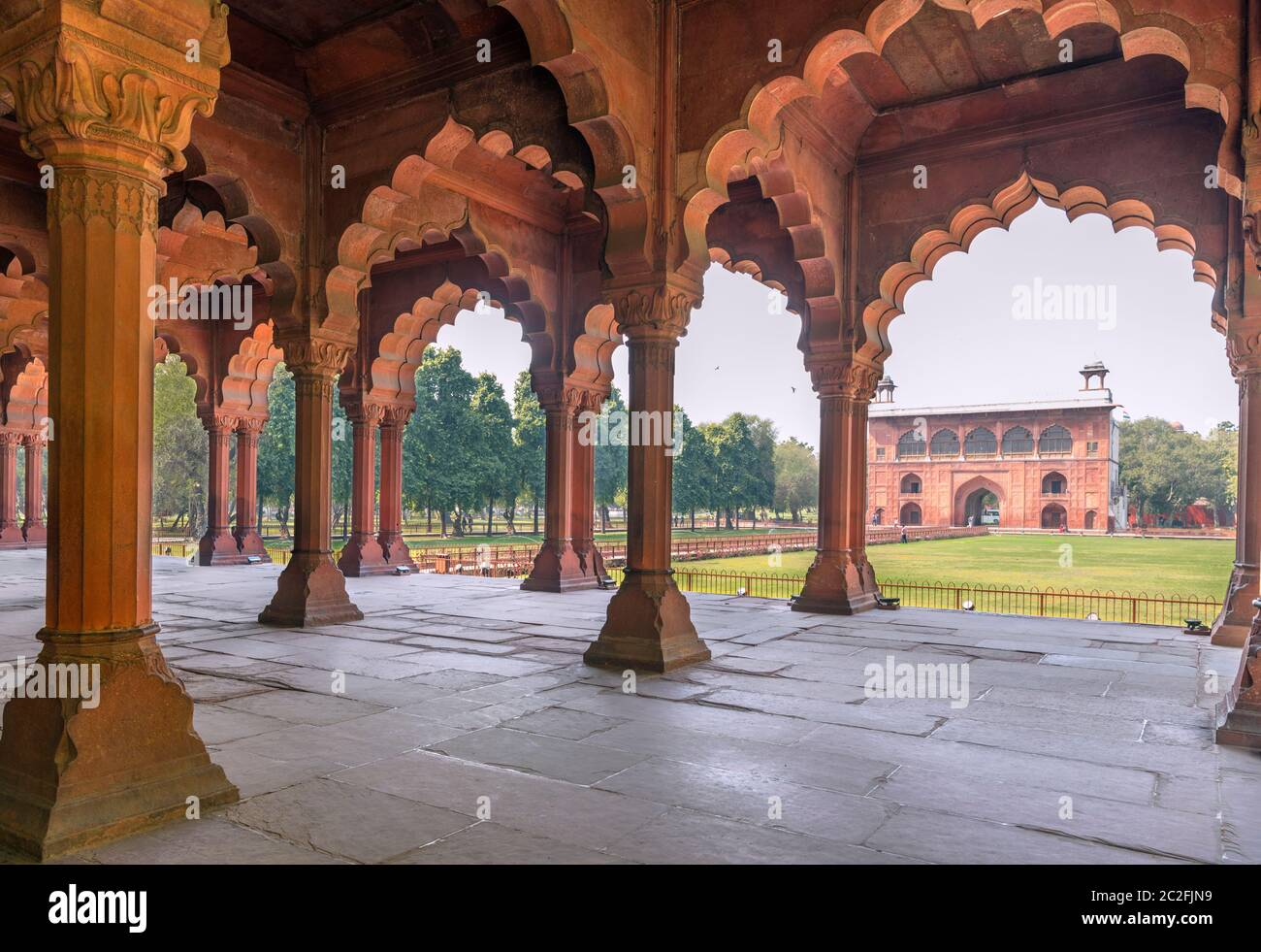 The Diwan-i-am (Hall of Public Audiences) in the Red Fort, Delhi, India Stock Photo