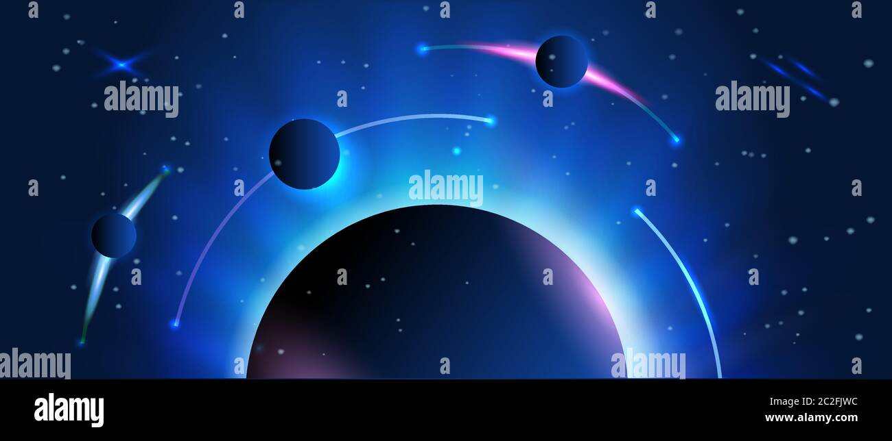 Abstract Space Banner Earth And Planets With Stars On The Background Astronomy And Science Use For Info Graphics Or As An Vector Illustration Stock Vector Image Art Alamy