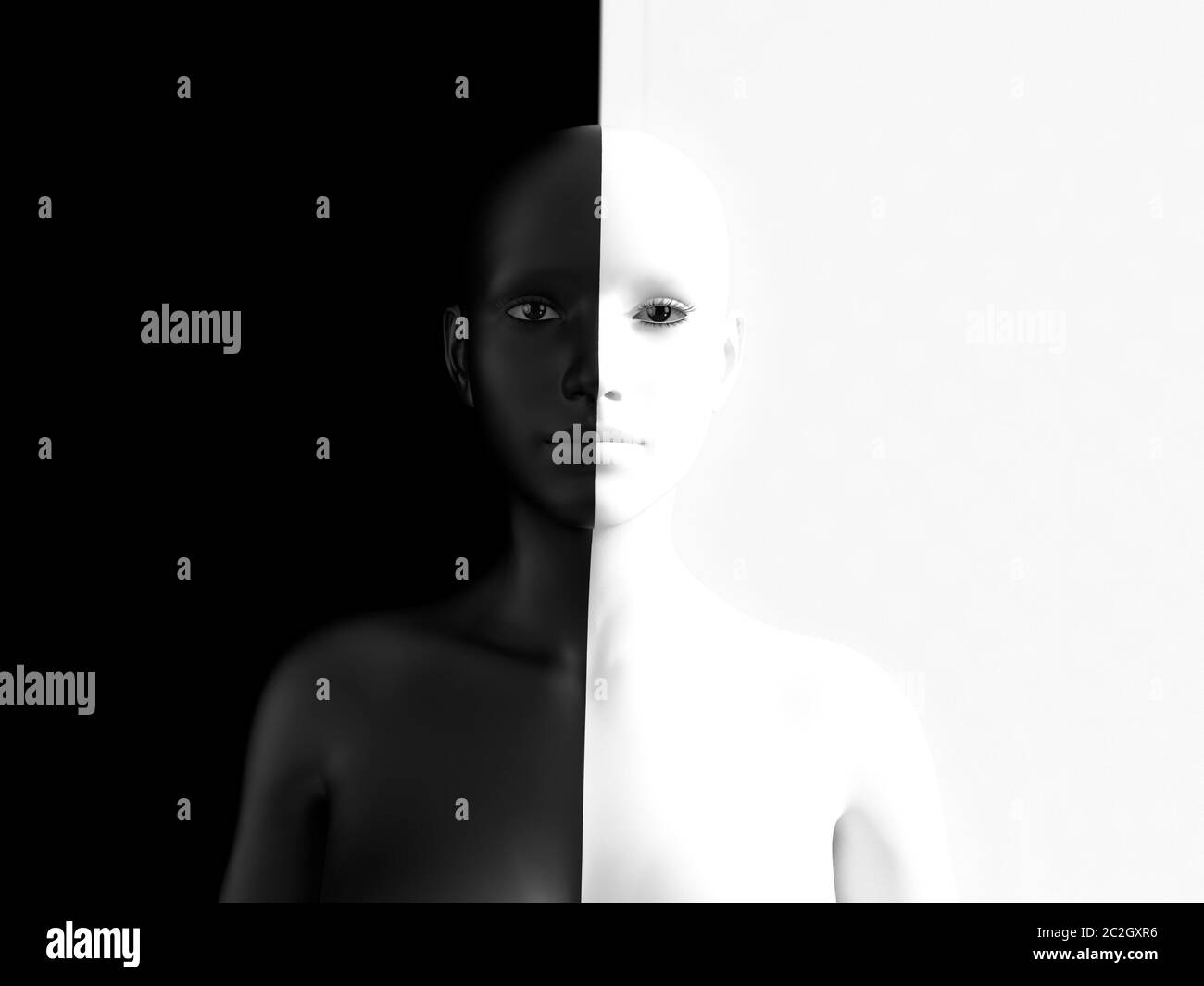 3D rendering of a woman half colored black and the other half white, blending in with the background, afraid to show her true colours. She is standing Stock Photo