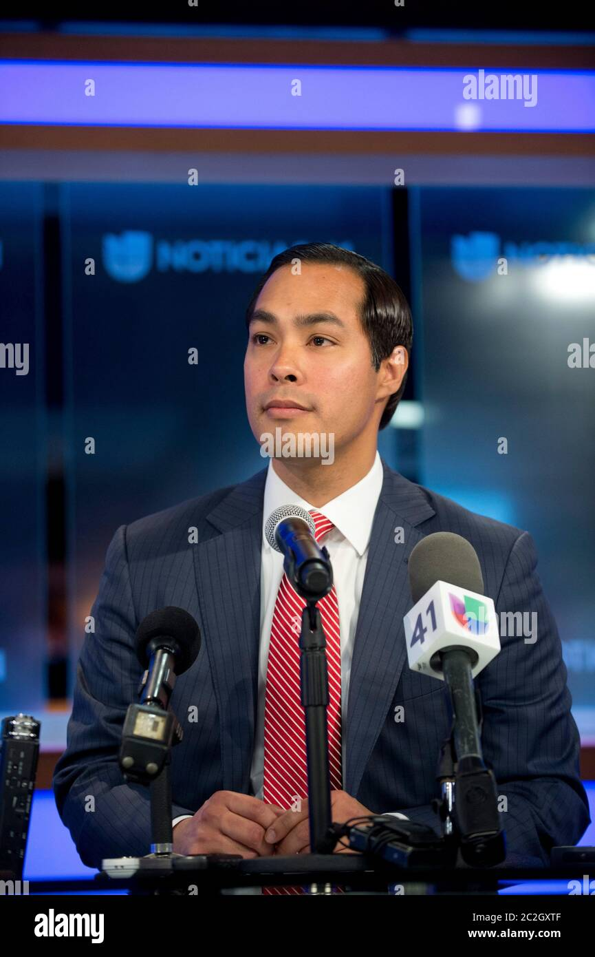 Julian Castro tapped to head HUD - San Antonio Mayor Julian Castro, l, debates outspoken Texas Sen. Dan Patrick on immigration issues in San Antonio April 15, 2014. Castro, 39, has been tapped by President Barack Obama as the next Cabinet secretary of Housing and Urban Development (HUD).   © Bob Daemmrich Stock Photo