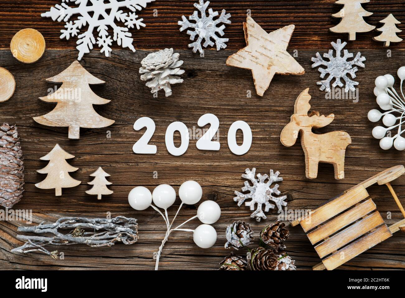 Building Christmas Decorations 2020 White Letters Building The Word 2020. Wooden Christmas Decoration