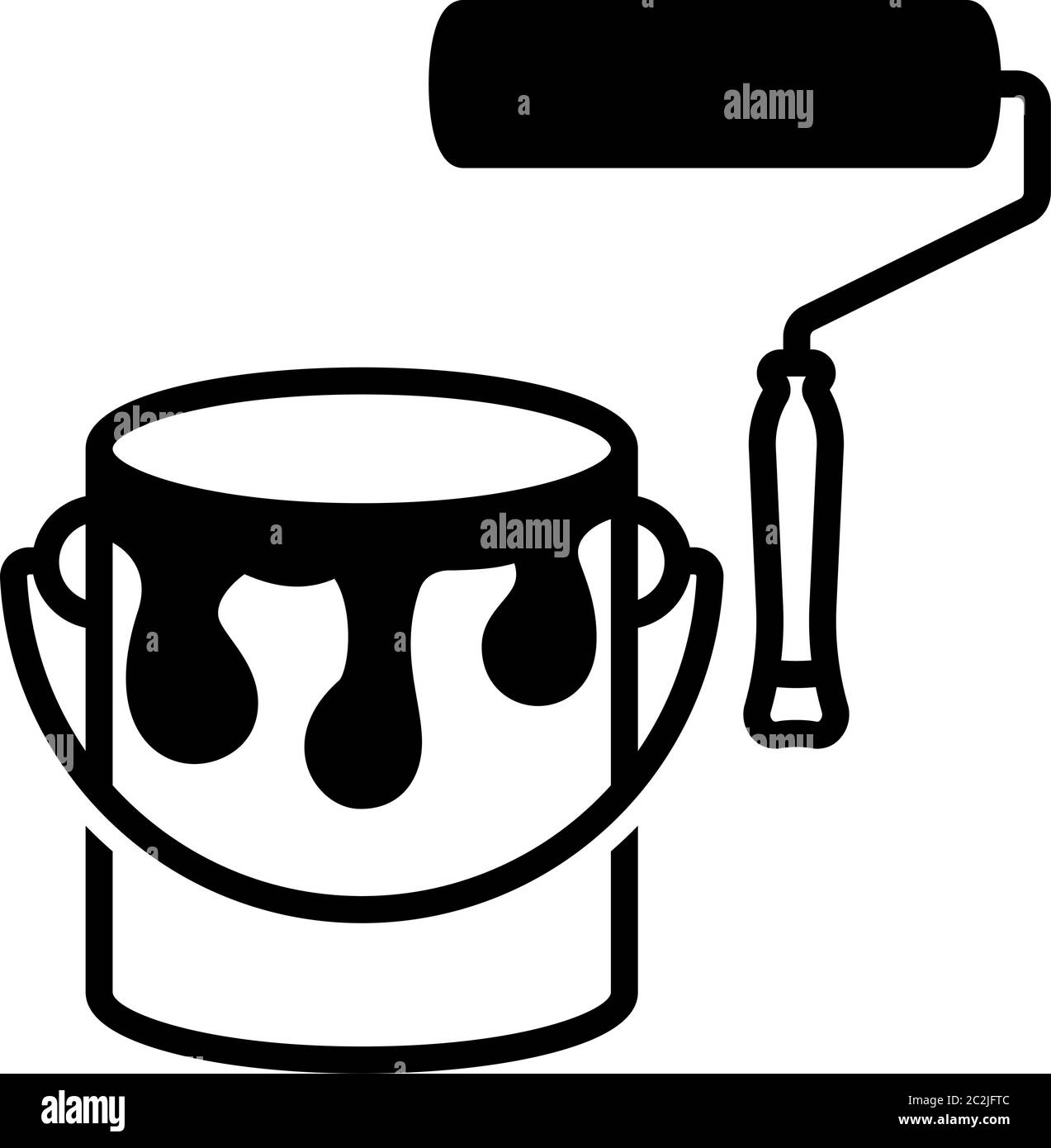 Paint Roller And Paint Bucket Icon Vector Art Illustration Stock Vector Image Art Alamy