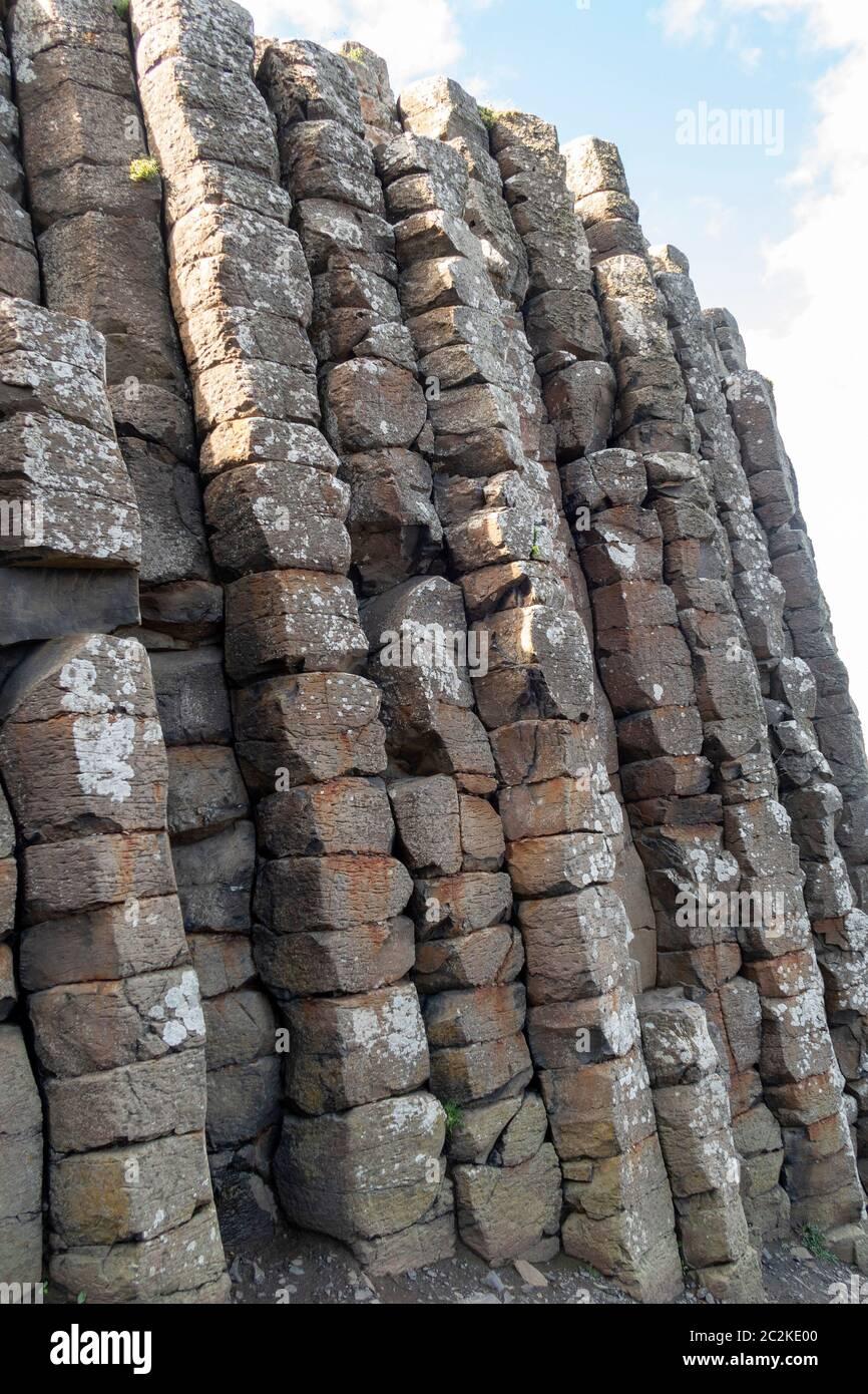 Geometrical basalt columns rock formations at Giant's Causeway, Northern Ireland, Europe Stock Photo