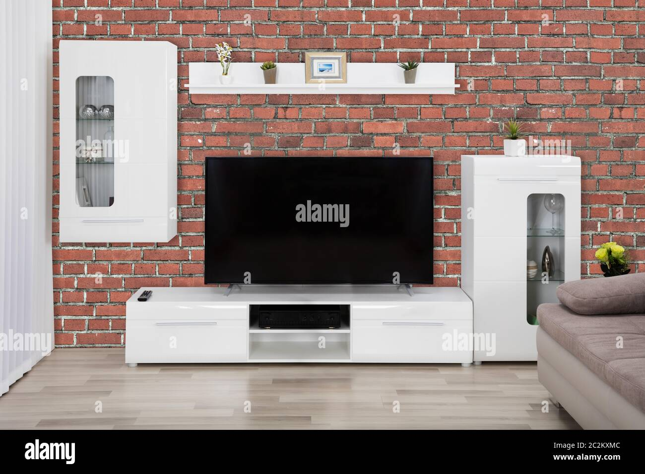 Showcase Interior And Flat Screen Lcd Television In Modern Interior Living Room Stock Photo Alamy