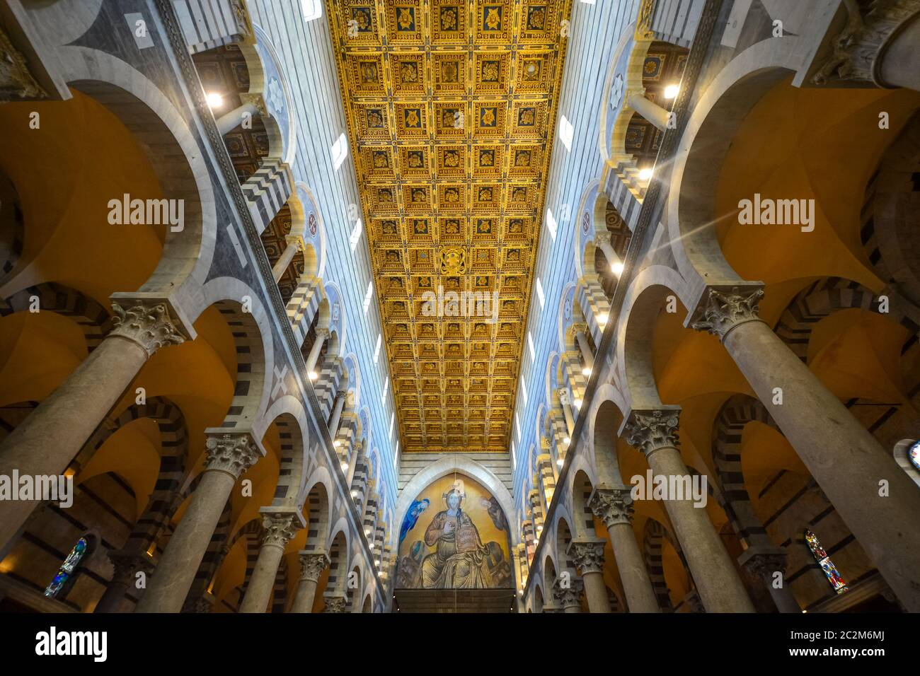 Interior ceiling and columns of the Duomo cathedral on the Piazza dei Miracoli in the Tuscan city of Pisa, Italy Stock Photo