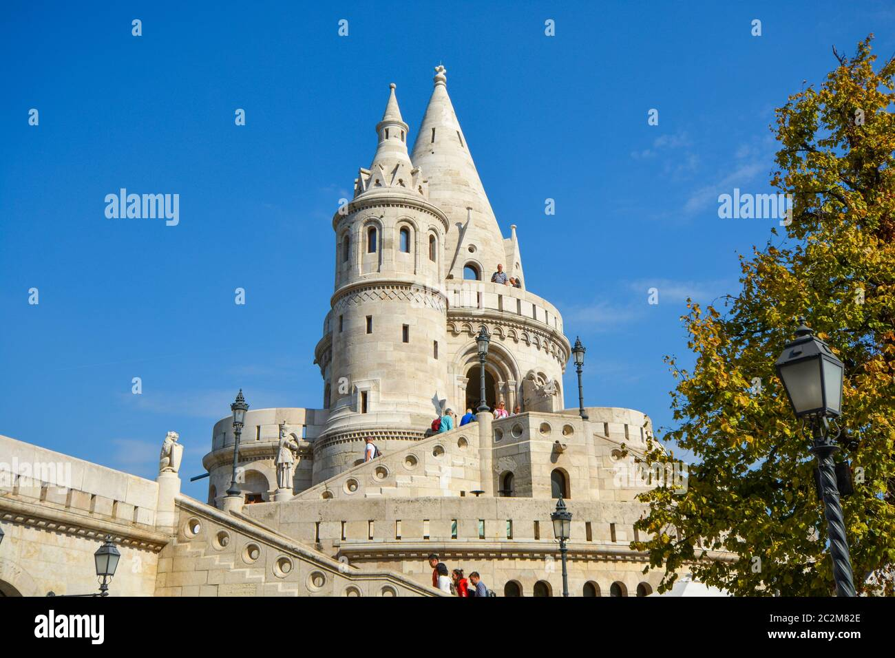 The Halászbástya or Fisherman's Bastion, a neo-gothic and Romanesque fortress at Castle Hill in the Budapest Castle District Stock Photo