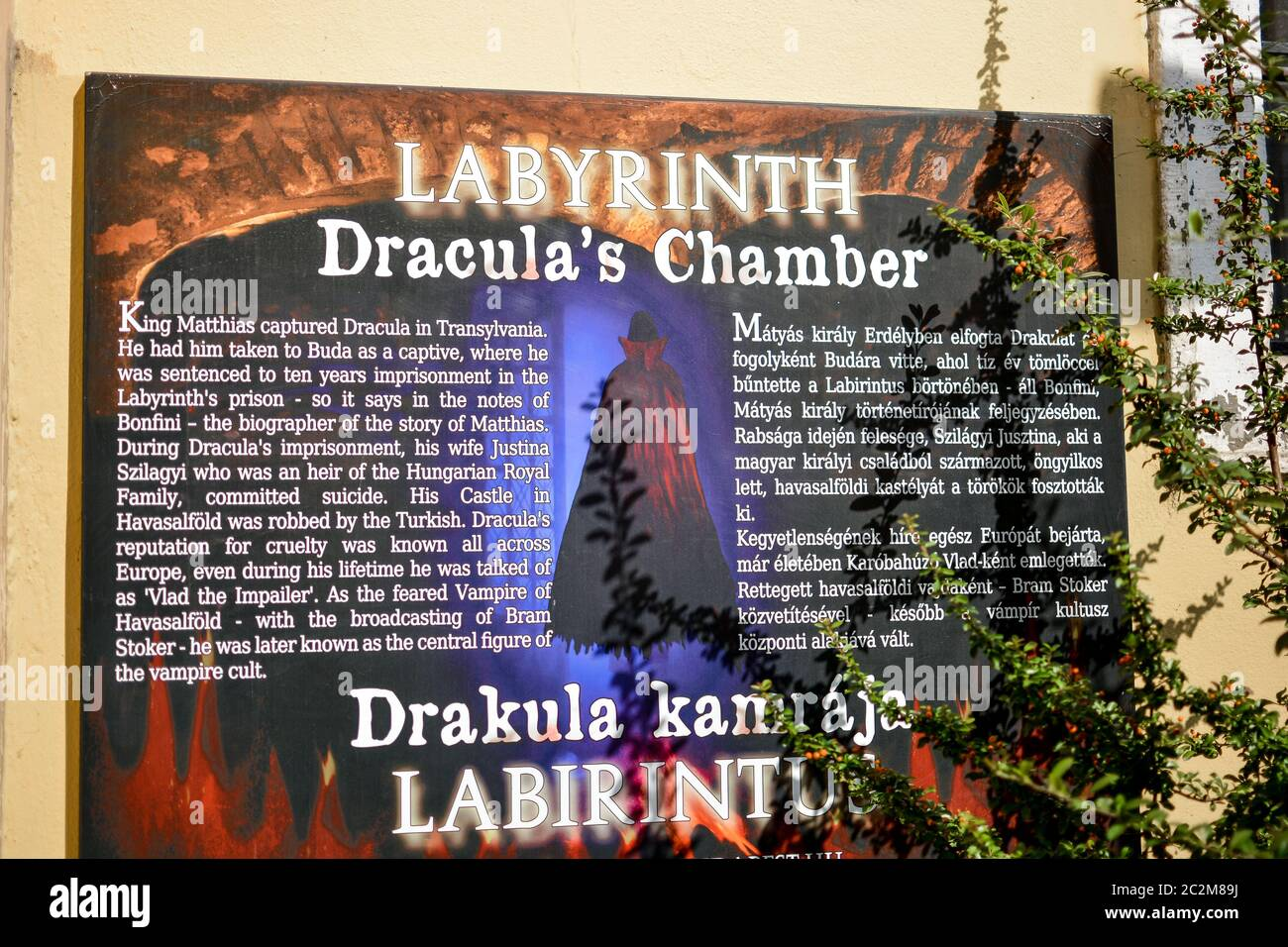 Sign outside the entrance to Dracula's Chamber, inside the Buda Castle Labyrinth in Budapest Hungary. Stock Photo