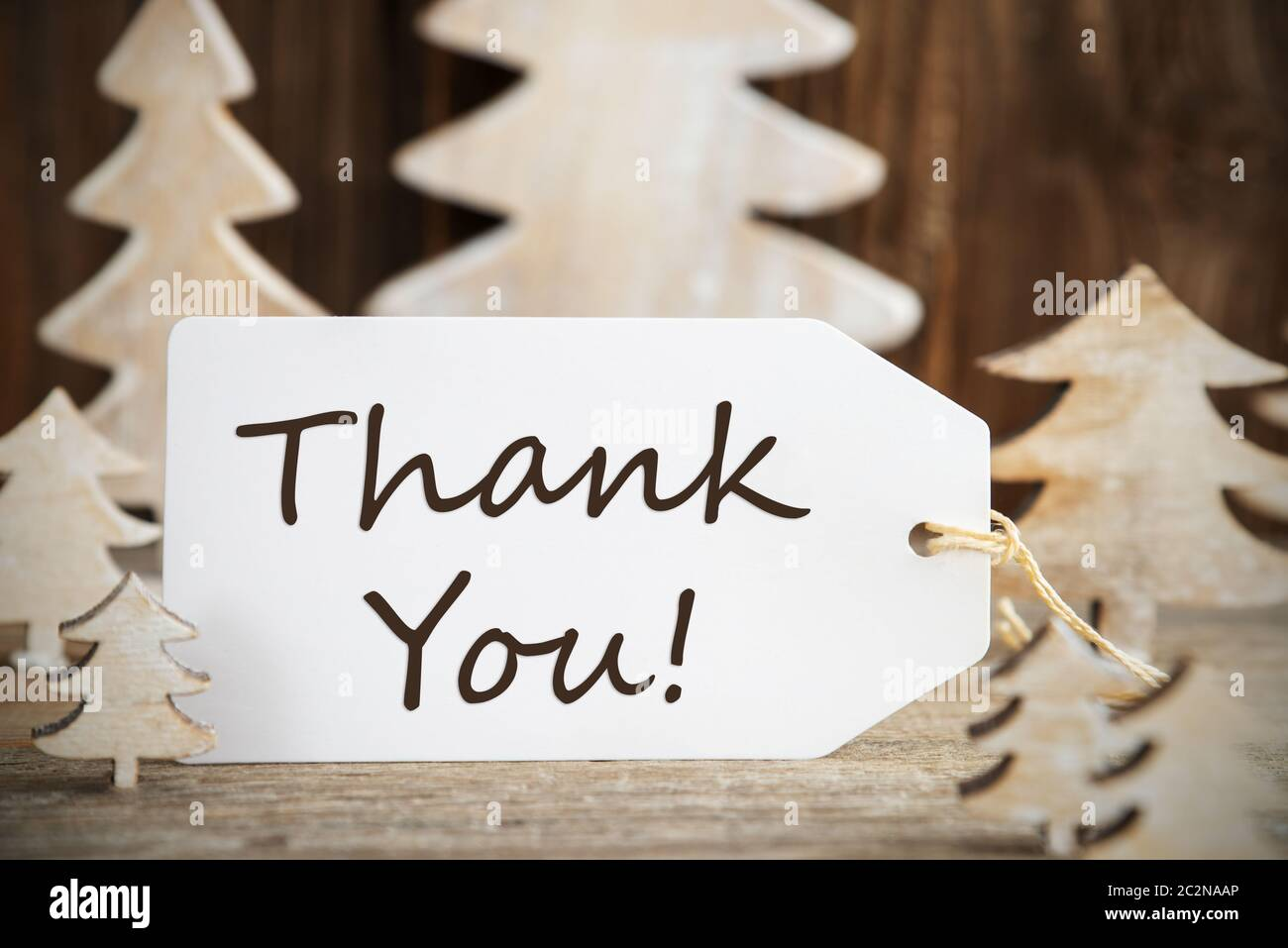 Label With English Text Thank You White Wooden Christmas Tree As Decoration Brown Wooden Background Stock Photo Alamy