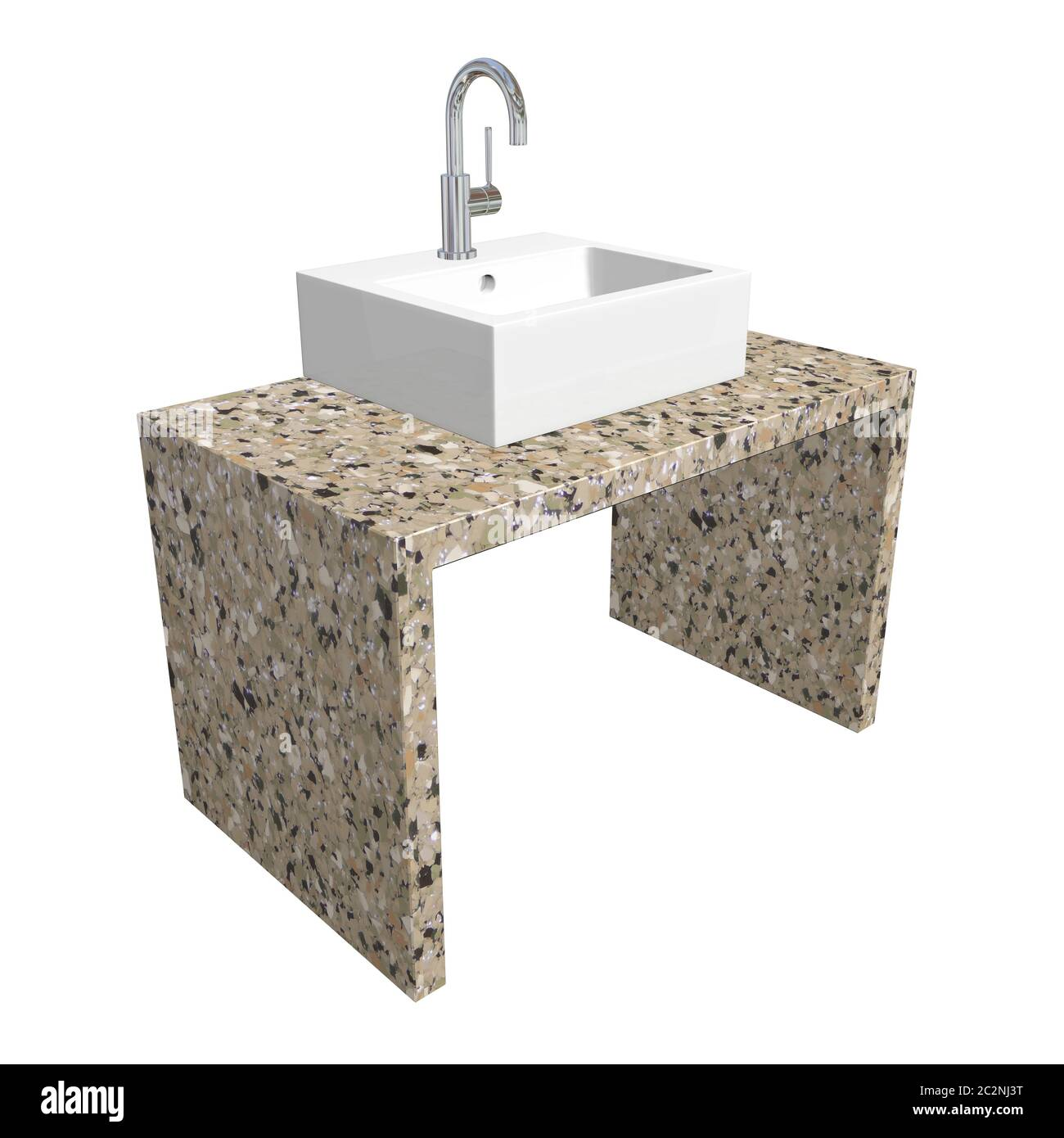 Modern Bathroom Sink Set With Ceramic Or Acrylic Wash Basin Chrome Fixtures And Marble Base 3d Illustration Isolated Against A White Background Stock Photo Alamy