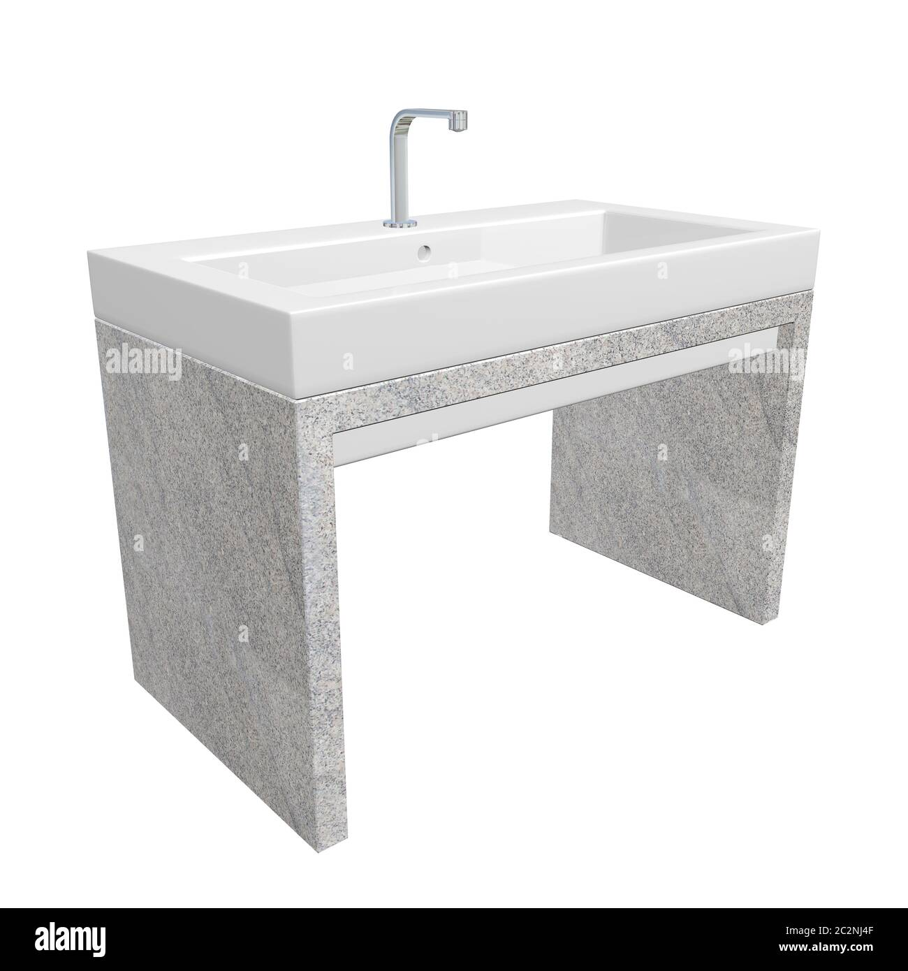 Modern Washroom Sink Set With Ceramic Or Acrylic Wash Basin Chrome Fixtures And Granite Base 3d Illustration Isolated Against A White Background Stock Photo Alamy