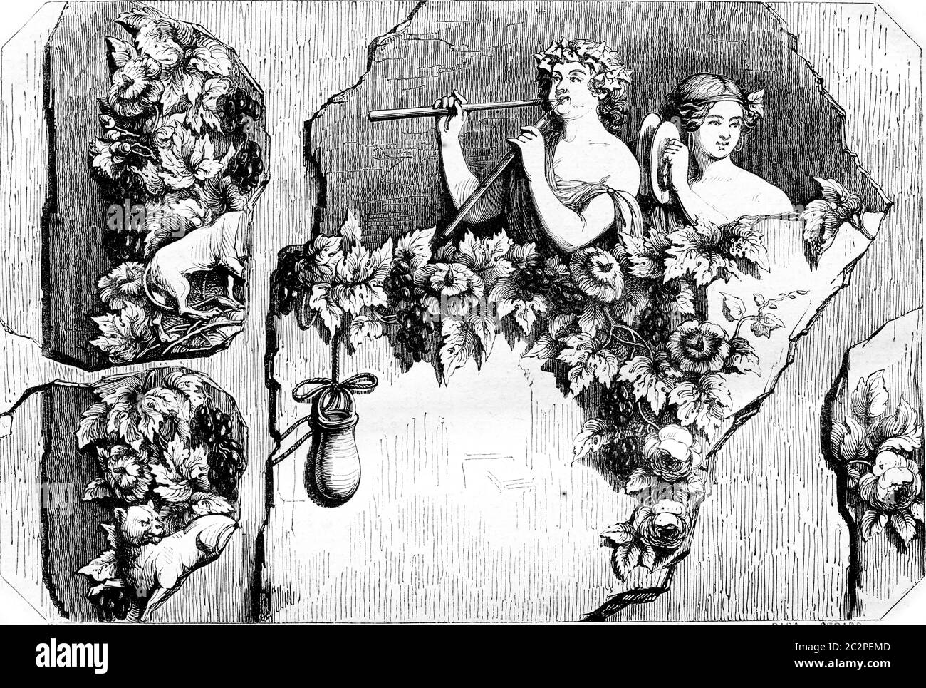 Bacchant and Bacchante, Fragment of an ancient painting, vintage engraved illustration. Magasin Pittoresque 1844. Stock Photo