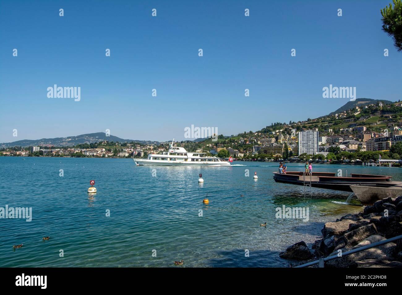 Ferry boat on Lake Geneva near Montreux, Switzerland Stock Photo