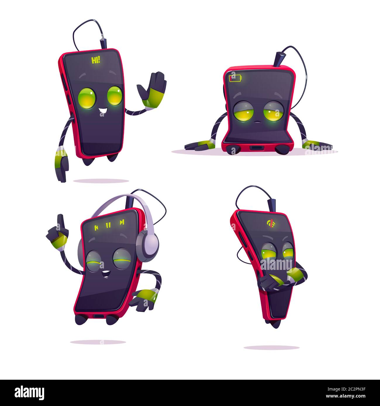 Cute Smartphone Character In Different Poses Vector Set Of Cartoon Chat Bot Funny Mobile Phone Greeting