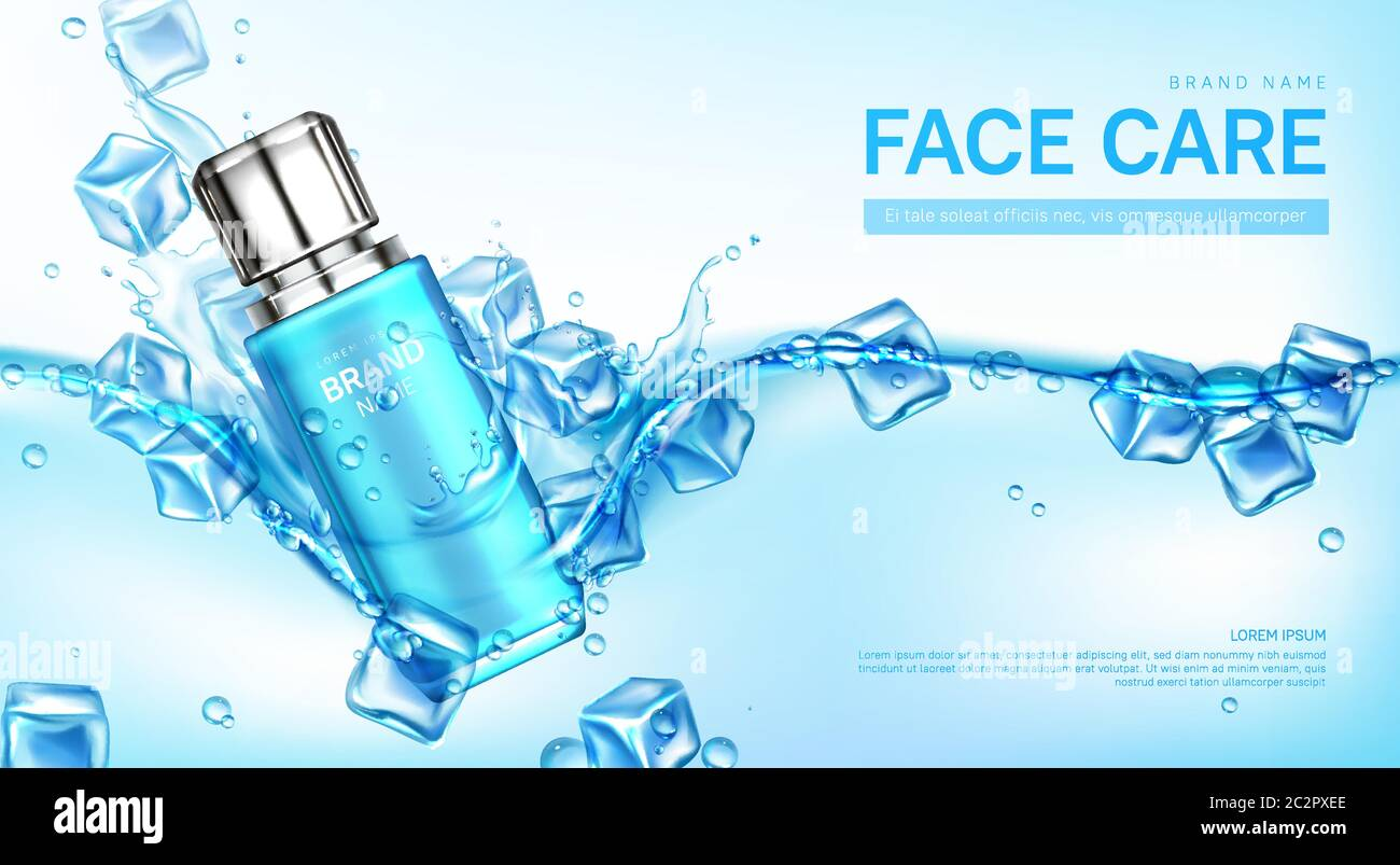 Face Care Cosmetics Banner Bottle Floating In Water With Ice Cubes Beauty Cosmetic Product Tube Makeup Remover Cream Micellar Tonic Advertising Promo Poster Realistic 3d Vector Mockup Background Stock Vector Image