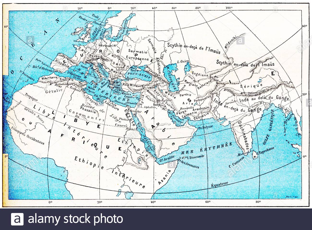 Ancient World Map Of Europe Asia And Africa Vintage Engraved