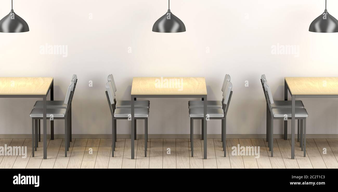 Modern Restaurant Interior With Wood Tables And Gray Leather Chairs Stock Photo Alamy