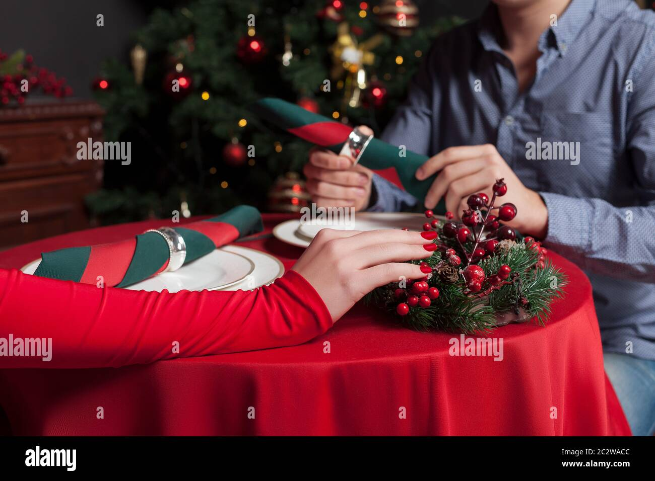 Young Couple Hands On The Table At Luxury Restaurant Closeup Romantic Date Man And Woman In Love Stock Photo Alamy