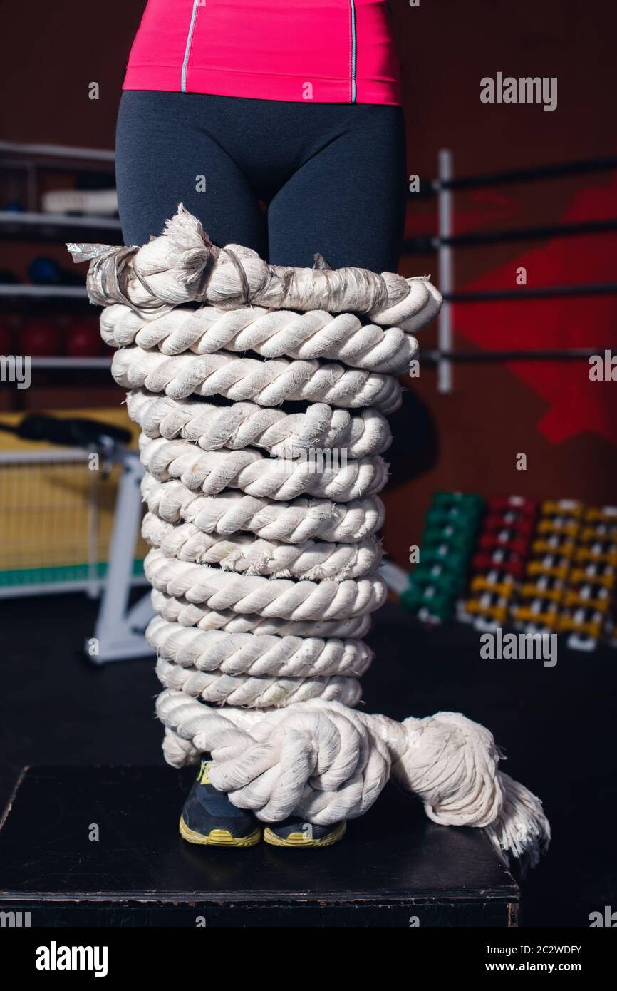 Close up of woman legs bound with rope Stock Photo