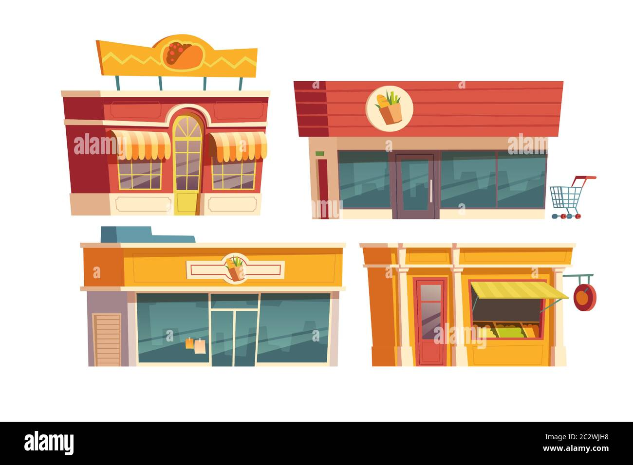 Fast Food Restaurant And Shops Building Cartoon Vector Illustration Facades Of Food Markets And Cafes Or Bistros With Signboards City Small Business Stock Vector Image Art Alamy