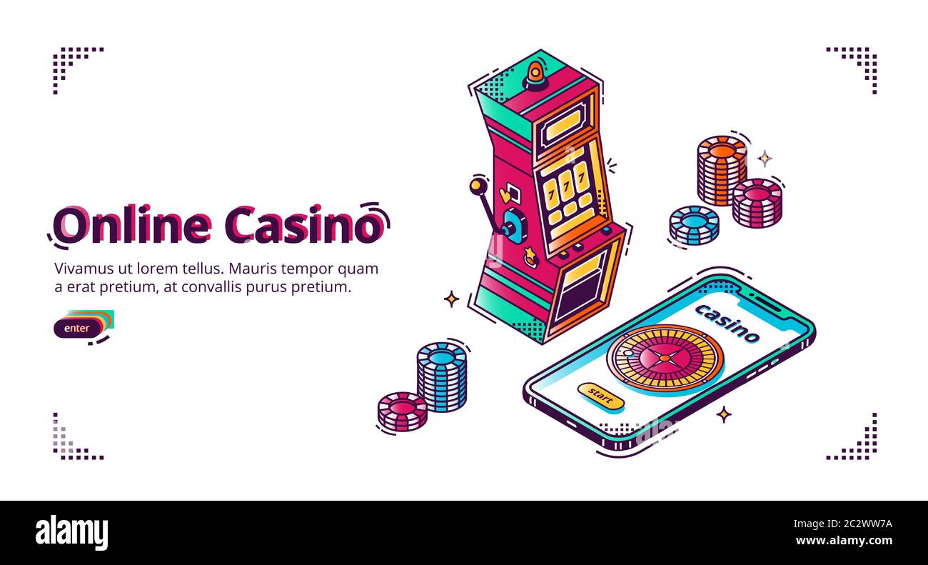 Mobile Online Casino Vector Isometric Background With Gambling Chips Slot Machine And Roulette Wheel On Smartphone Screen Advertising Poster Banne Stock Vector Image Art Alamy