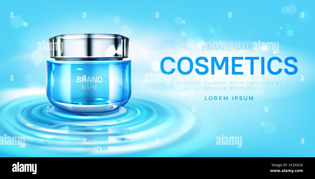 Cosmetics Cream Jar Mock Up Banner With Beauty Skin Care Moisturize Product Tube On Water Surface Cosmetic Cream Bottle Package Design Background For Stock Vector Image Art Alamy