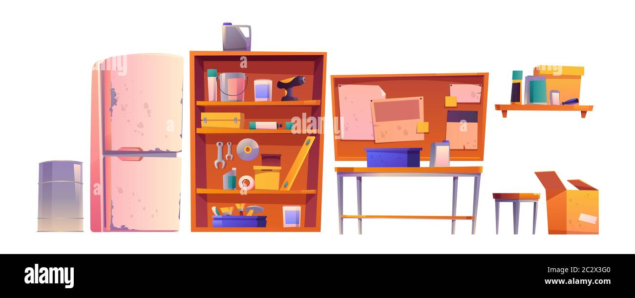 Garage Equipment For Carpentry And Repair Works Vector Cartoon Interior Of Workshop Or Storeroom Set Of Construction Tools Table Shelves And Old R Stock Vector Image Art Alamy