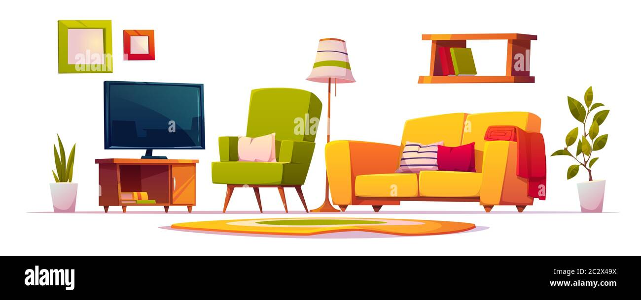 Living Room Interior Set With Sofa Armchair Bookshelves And Tv Vector Cartoon Collection Of Furniture For House Carpet Floor Lamp And Spring Plan Stock Vector Image Art Alamy