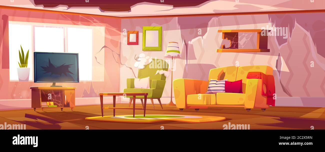 Old Dirty Living Room With Broken Furniture Vector Cartoon Illustration Of Empty Abandoned Home Interior With Mess Torn Couch Upholstery Crashed Te Stock Vector Image Art Alamy