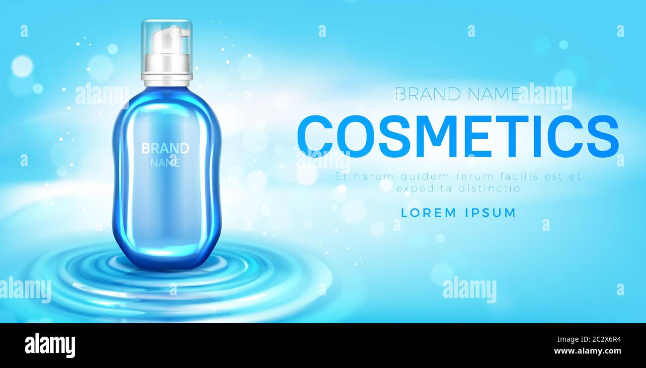 Cosmetics Bottle Mockup Banner With Beauty Skin Care Moisturize Or Cleansing Product Pump Tube On Water Surface Cosmetic Package Design Background F Stock Vector Image Art Alamy