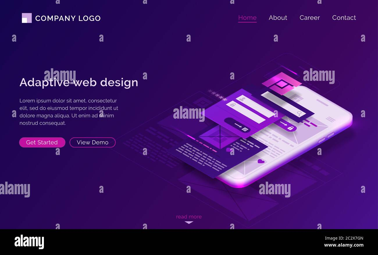 Adaptive Interface Design Isometric Landing Page User Experience Ui Ux Mobile Phone Layouts Online Form For Login And Password Enter Mobile App De Stock Vector Image Art Alamy