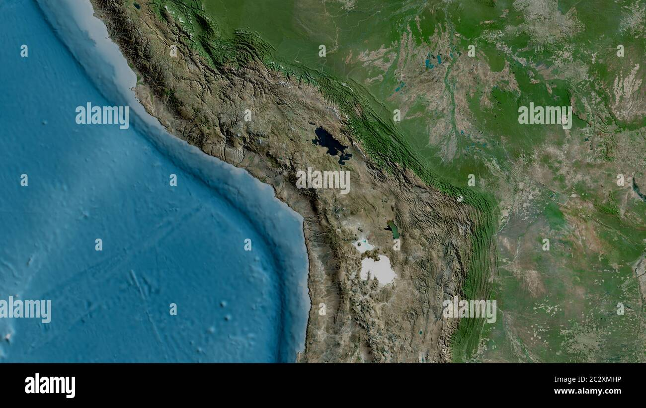 Satellite map of the area around the Altiplano tectonic plate. 3D rendering Stock Photo