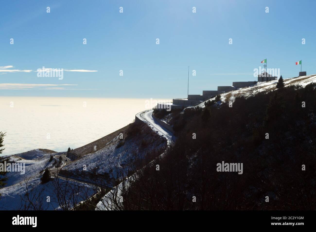 Monte grappa first world war memorial winter view, Italy. Italian landmark Stock Photo