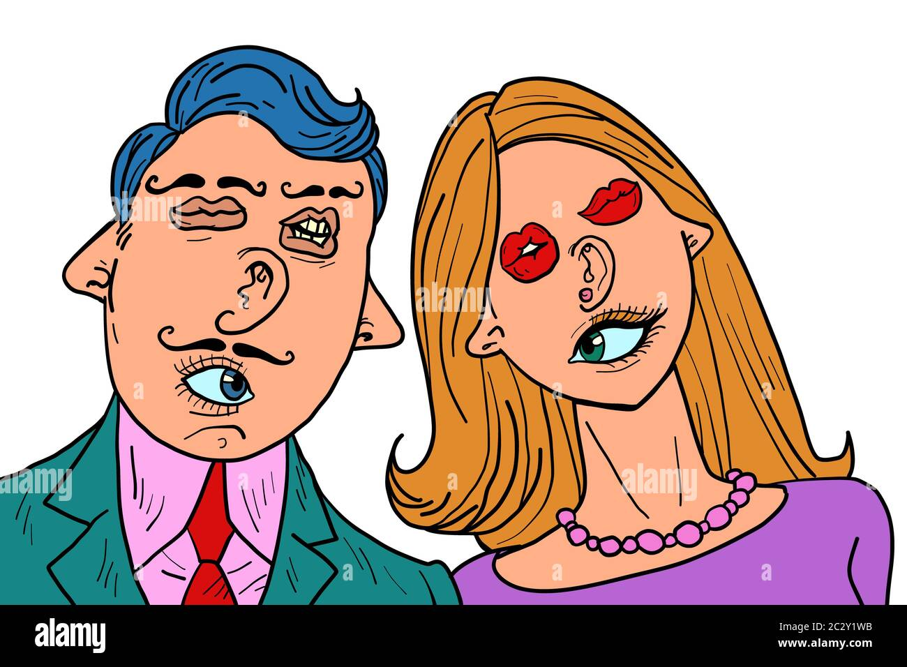 Funny Couple In Love Mixed Faces Eyes Mouth Ears Nose Comic Cartoon Pop Art Retro Vector Illustration Drawing Stock Photo Alamy