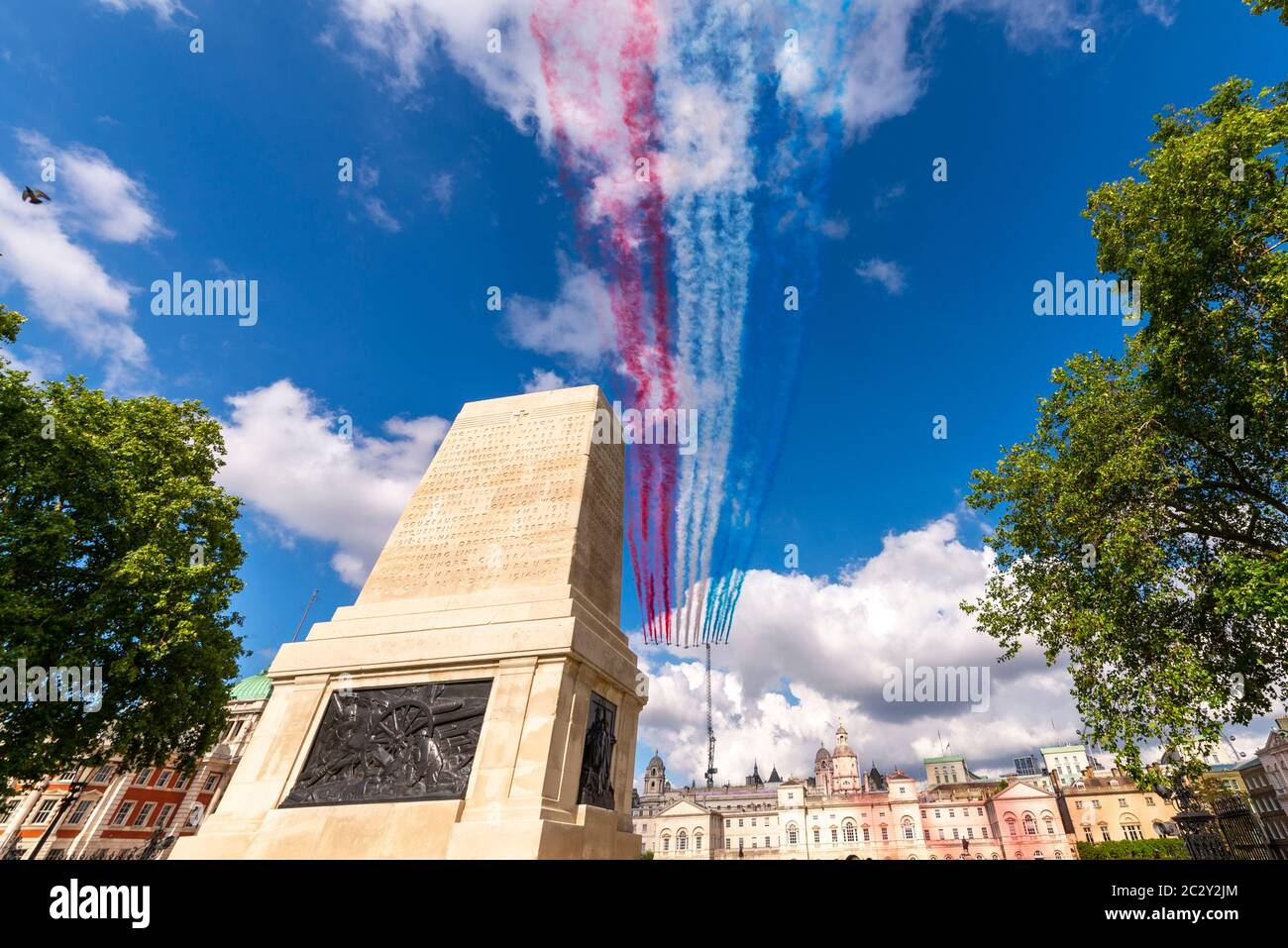 Westminster, London, UK. 18th Jun, 2020. The Royal Air Force Red Arrows and the French Air Force Patrouille de France display teams carried out a flypast over London to honour the 80th anniversary of the 'Appel' speech by Charles de Gaulle which is considered to be the origin of the French Resistance to the German occupation during World War II. The teams passed over Buckingham Palace, St. James's Park and Horse Guards Parade Stock Photo