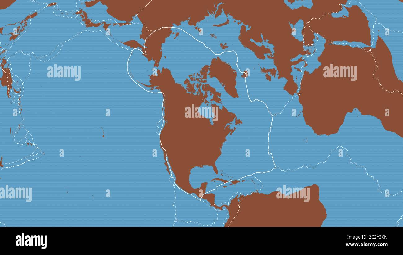 Outline Of The North American Tectonic Plate With The Borders Of Surrounding Plates Against The Background Of A Pattern Map 3d Rendering Stock Photo Alamy
