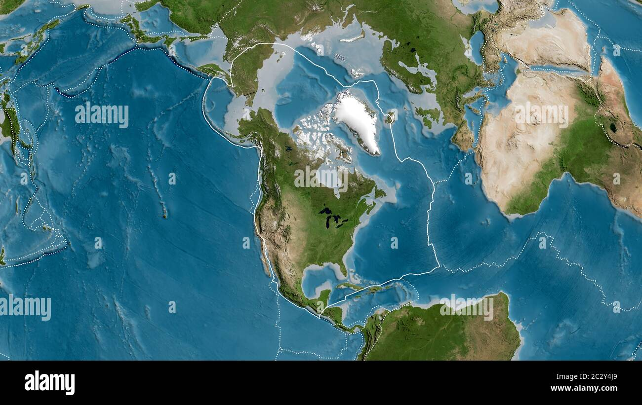 Outline Of The North American Tectonic Plate With The Borders Of Surrounding Plates Against The Background Of A Satellite Map 3d Rendering Stock Photo Alamy