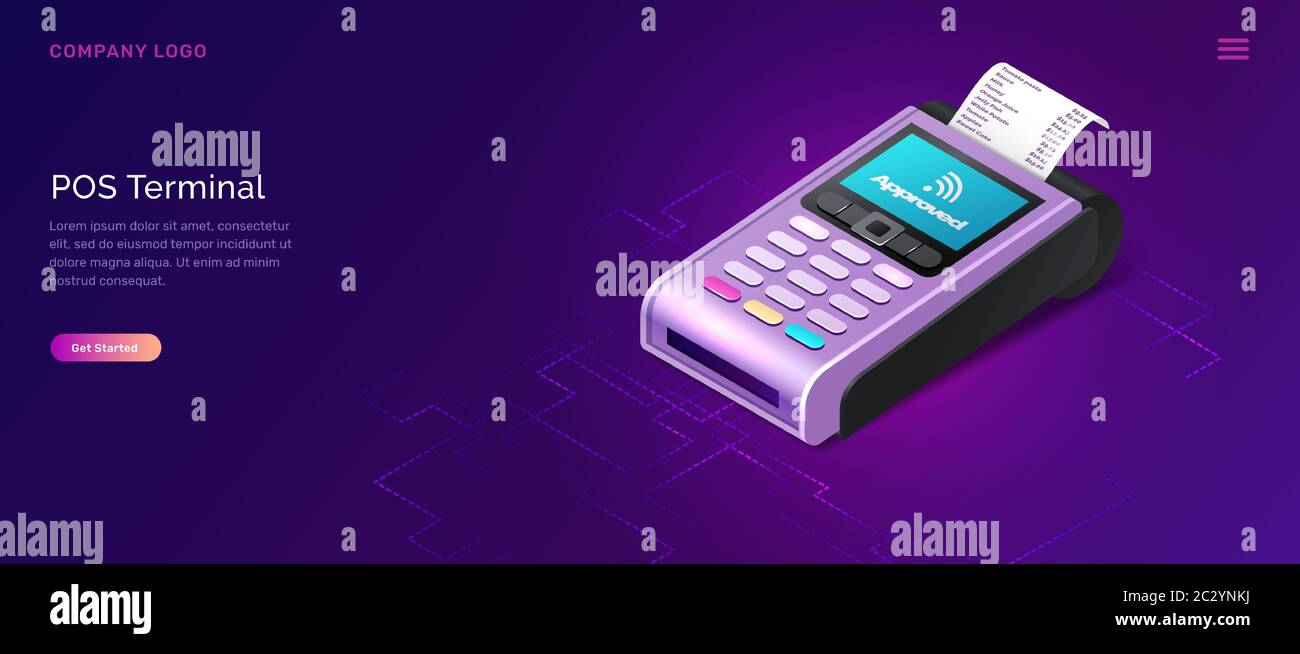 POS terminal business concept vector isometric illustration. Contactless payment security concept, point of sale payment machine with paper check, ult Stock Vector