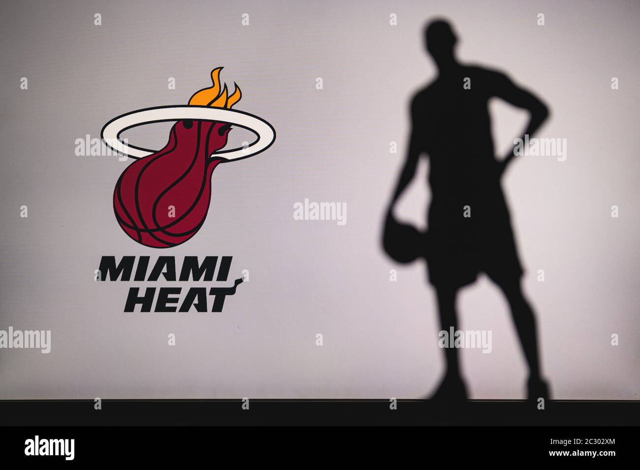 New York Usa Jun 18 2020 Miami Heat Logo Of Professional Basketball Club In American League Silhouette Of Basket Player In Foreground Sport Conc Stock Photo Alamy