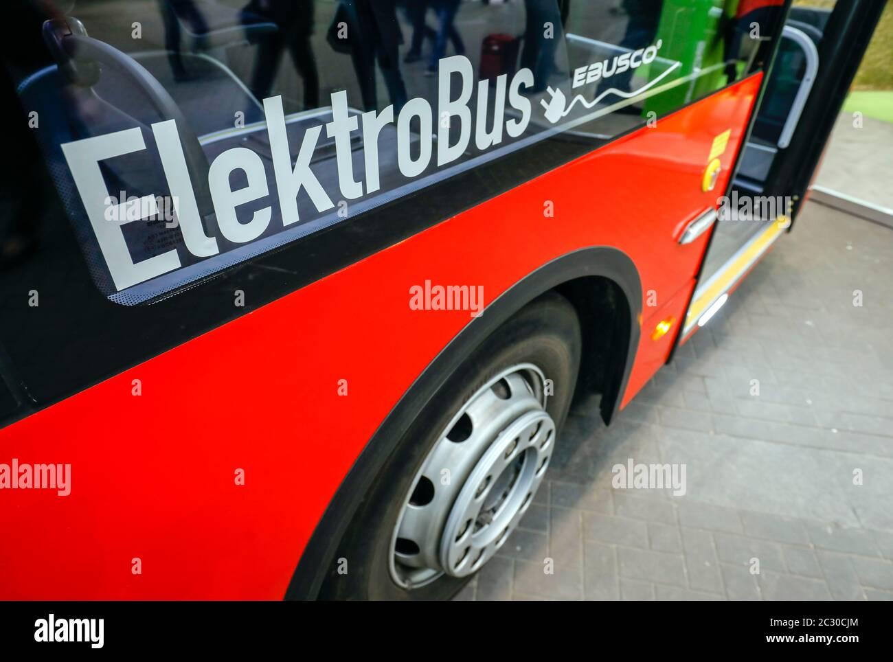 Elektrobus, exhibition stand at the E-world energy water trade fair, Essen, North Rhine-Westphalia, Germany Stock Photo