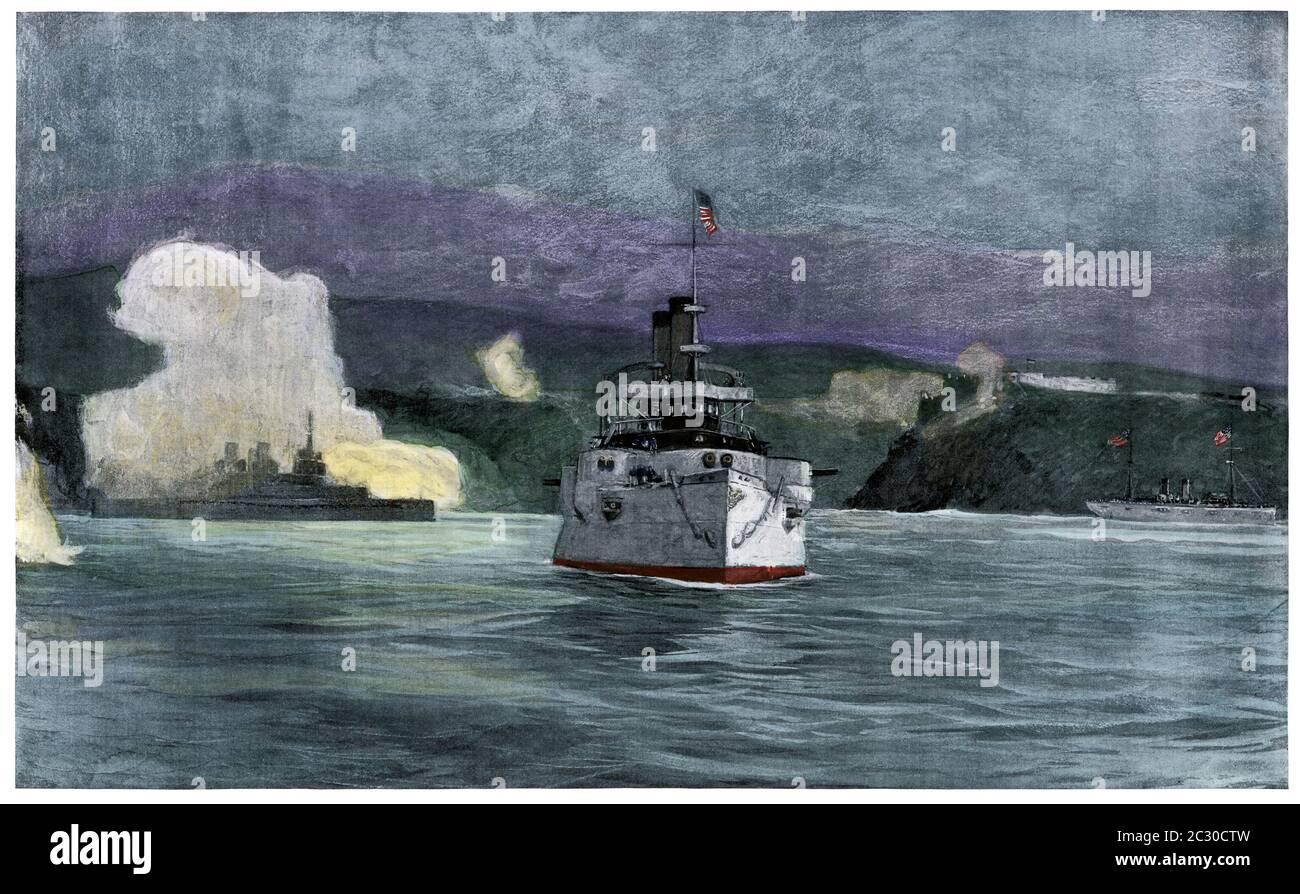 USS Oregon (left) and Iowa bombarding Santiago's defenses, Spanish-American War, 1898. Hand-colored halftone of an illustration Stock Photo
