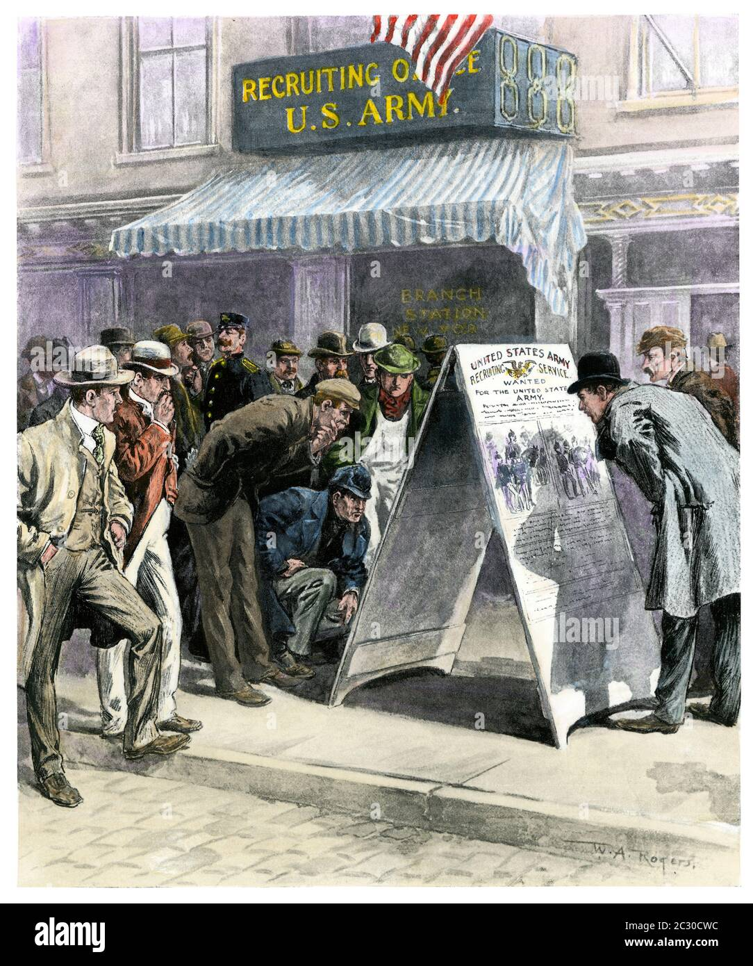 US Army recruiting station in New York City, Spanish-American War, 1898. Hand-colored halftone of a W.A. Rogers illustration Stock Photo