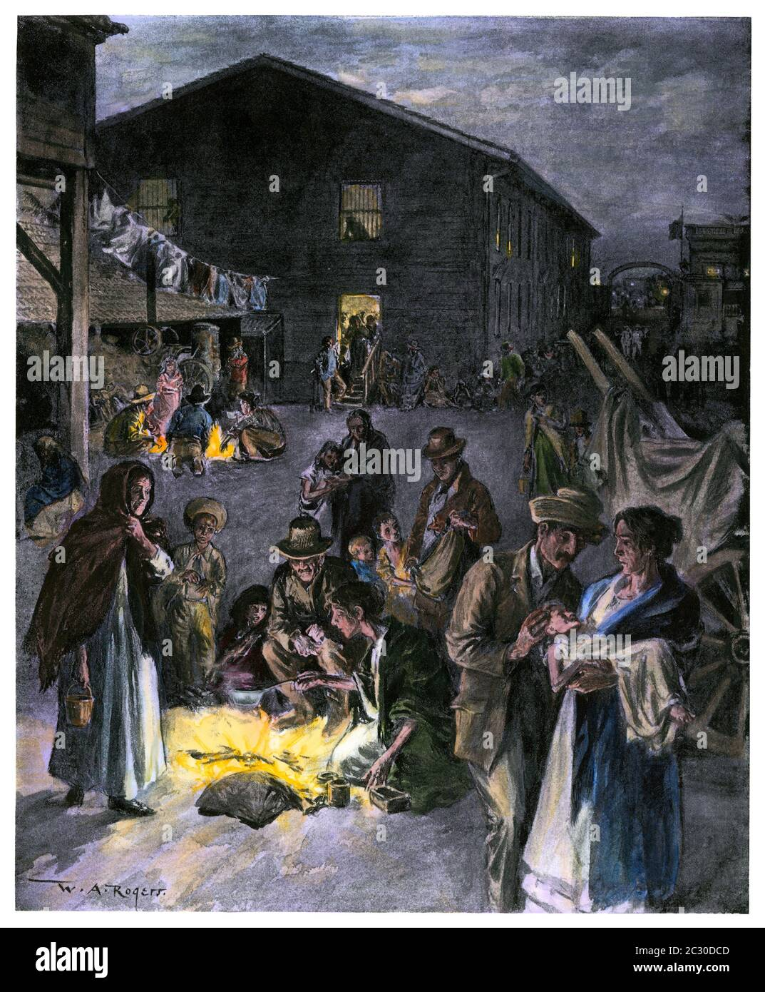 Los Fosos section of Havana sheltering refugees, Spanish-American War, 1898. Hand-colored halftone of a W.A. Rogers illustration Stock Photo