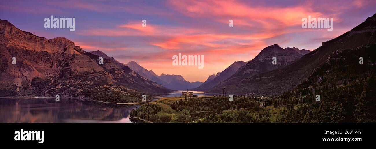 Sunset over Prince of Wales Hotel in Waterton Lakes National Park, Alberta, Canada Stock Photo