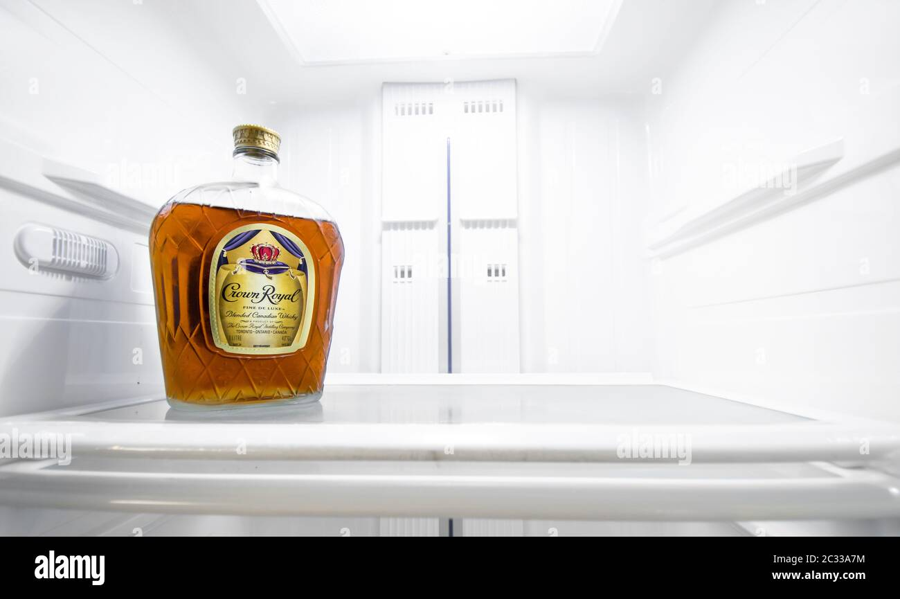 Crown Royal Bottle High Resolution Stock Photography And Images Alamy Crown royal's traditional smoothness comes through even in this peach flavored whisky. https www alamy com bottle of crown royal in an empty fridge image363335608 html