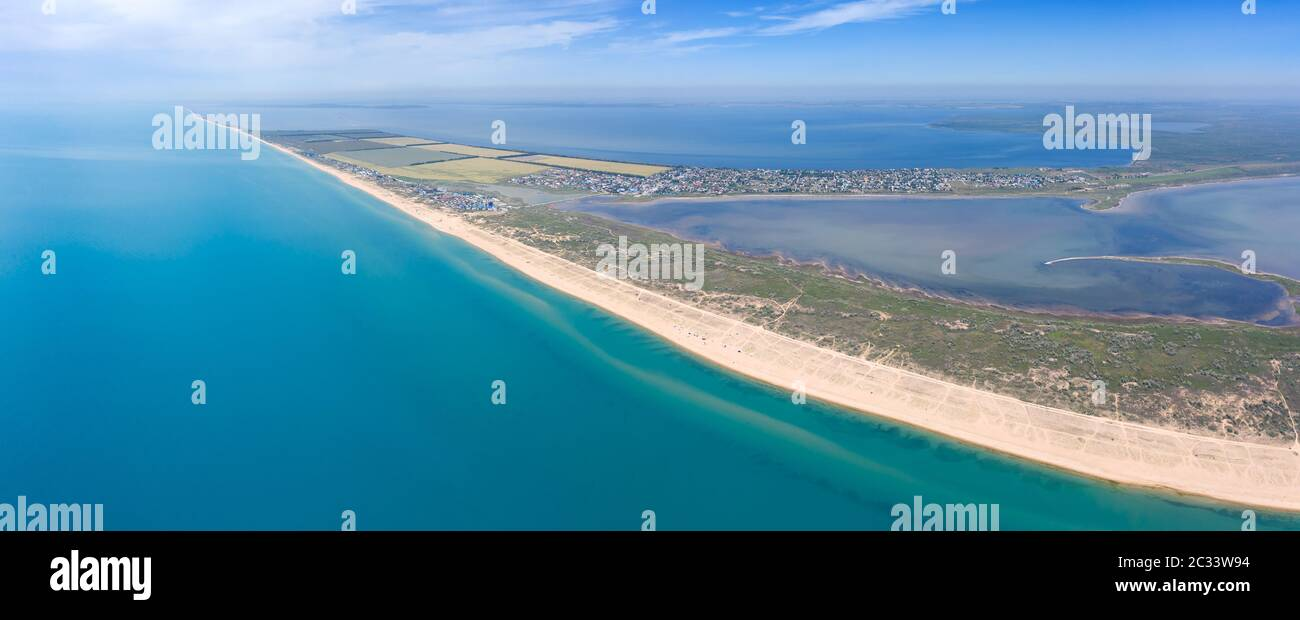 Aerial view on sand beach and Black sea Stock Photo