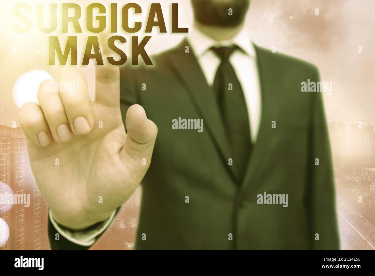 Writing note showing Surgical Mask. Business concept for worn by health professionals during surgery and during nursing Touch screen digital marking i Stock Photo
